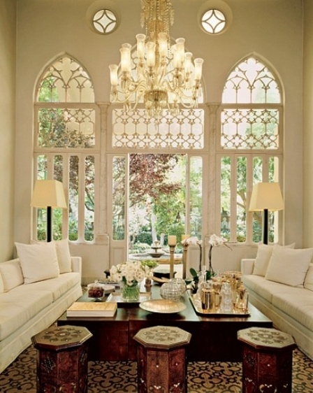 I have always been in love with the fun, eclectic style of Moroccan design.  This style offers intricate architectural detailing and gorgeous, rich  textiles.